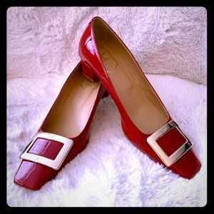 ROGER VIVIER Red Patent Buckle Shoe